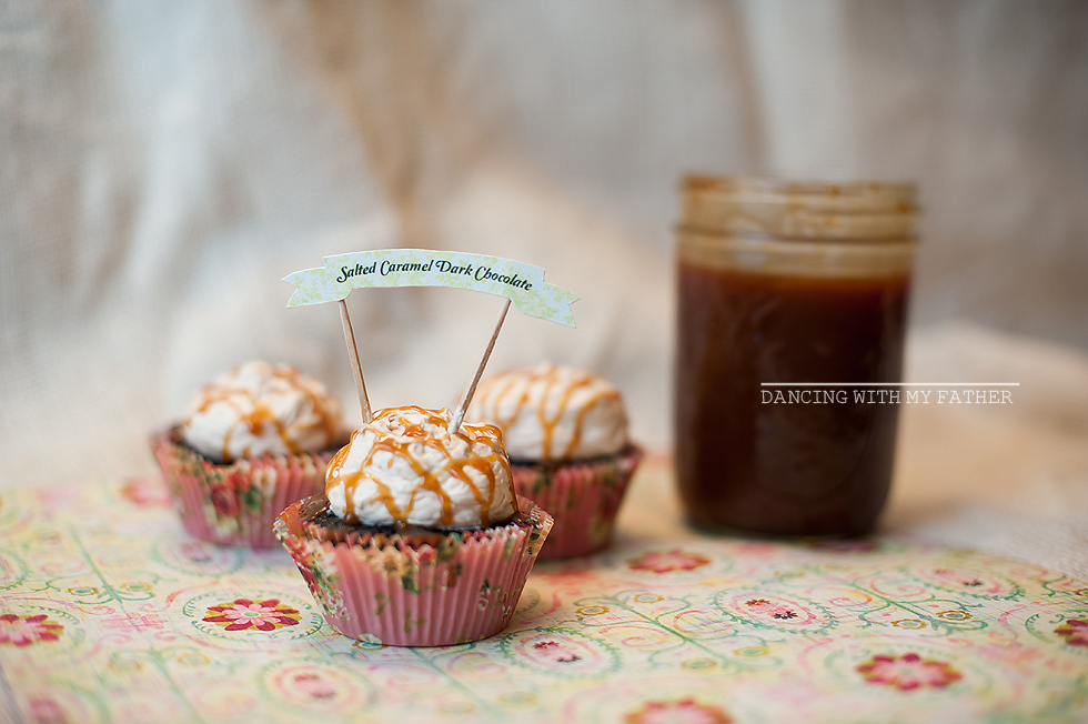 salted caramel dark chocolate cupcakes E
