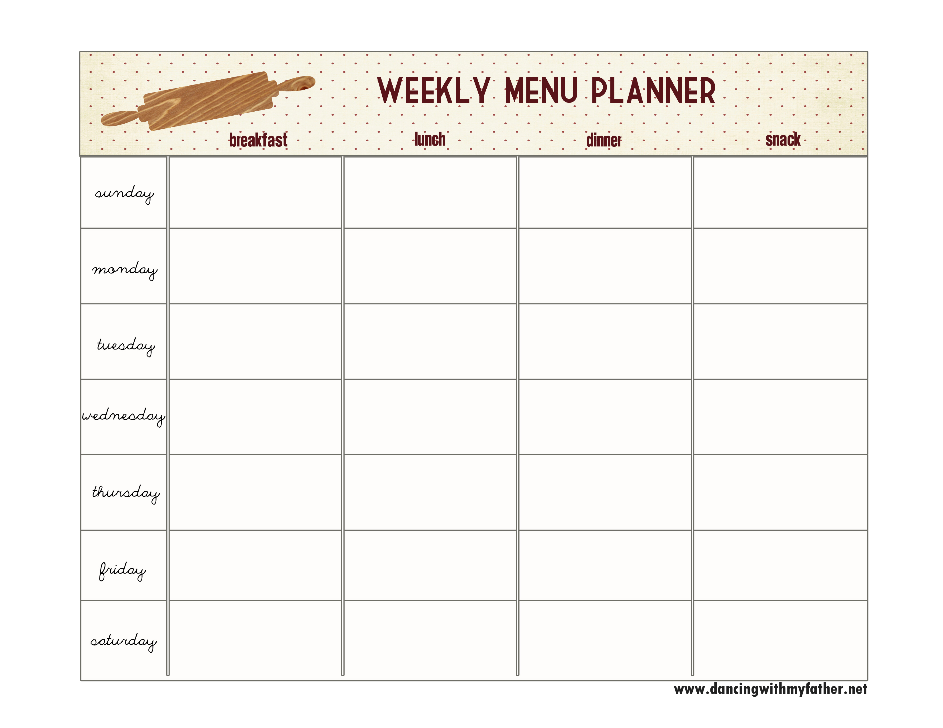Accomplished image throughout blank printable menu