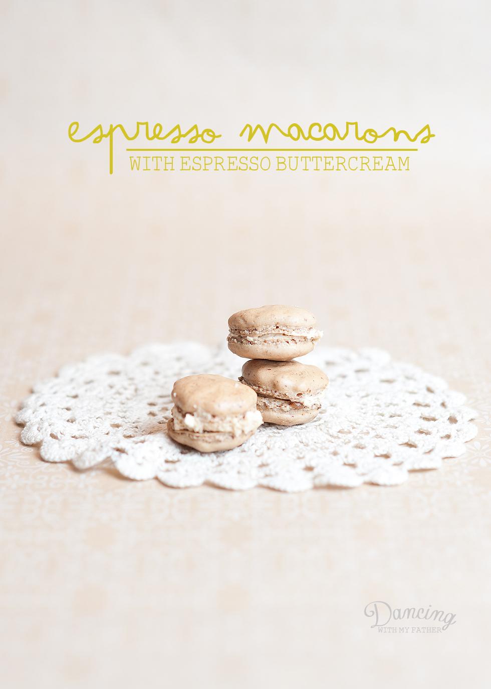 espresso parisian macaron with espresso buttercream