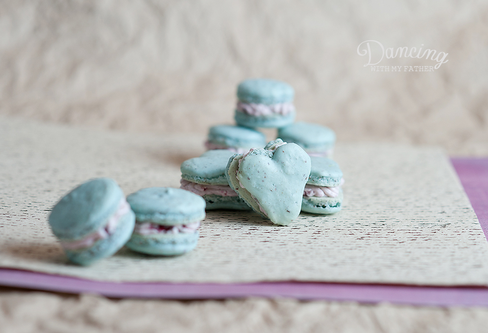 lemon macarons with blackberry buttercream a