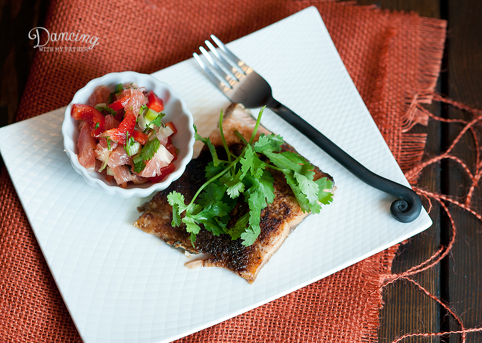 salmon with grapefruit salsa d