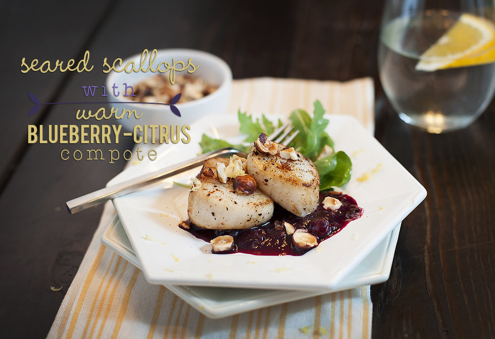 seared scallops with blueberry compote